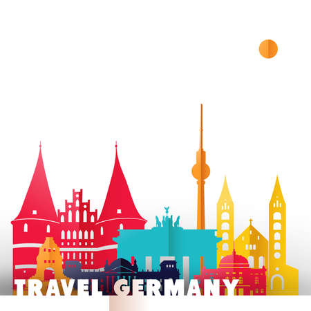 Travel Germany concept illustration in paper cut style, famous world landmarks of German country. Includes Berlin tower, Brandenburg gate, historic monuments. EPS10 vector.