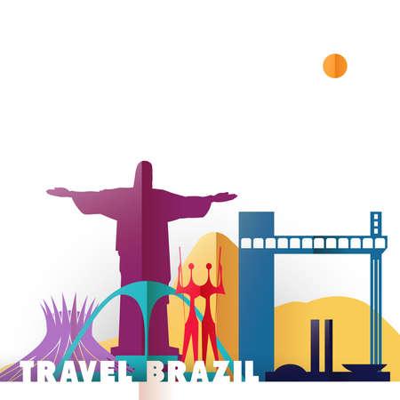 紙のカット スタイル、ブラジルの国の有名な世界のランドマークでブラジルの概念図を旅行します。コルコバードのキリスト像、リオ山、ブラジリ