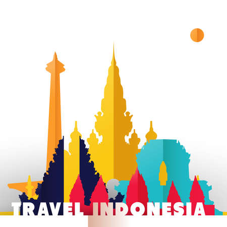 Travel Indonesia concept illustration in paper cut style, famous world landmarks of Indonesian country. Includes Jakarta monas monument, Hindu temples, ancient buildings. EPS10 vector.