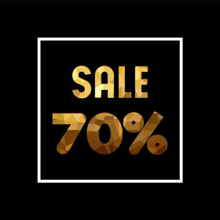 セール 70 %off ゴールド テキストを引用、紙のカット スタイルの豪華なタイポグラフィ。特別オファー割引小売ビジネスの広告します。EPS10 ベクトル