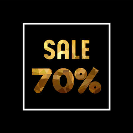 Sale 70% off gold text quote, luxury typography in paper cut style. Special offer discount advertising for retail business. EPS10 vector.