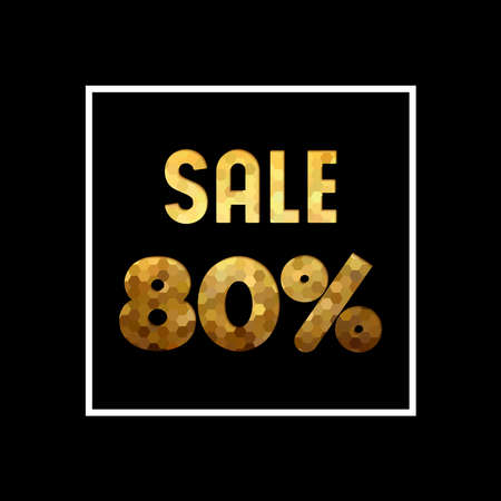 Sale 80% off gold text quote, luxury typography in paper cut style. Special offer discount advertising for retail business. EPS10 vector.