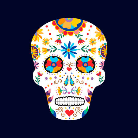 traditional culture: Day of the dead sugar skull illustration for mexican celebration, traditional mexico skeleton decoration with flowers and colorful art. EPS10 vector.