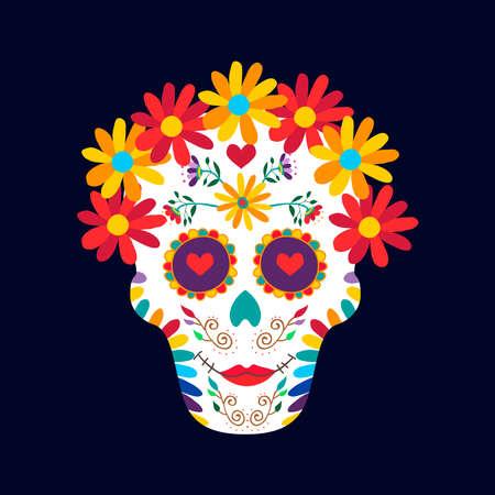 Dzień nieżywa cukrowa czaszki kobiety ilustracja dla meksykańskiego świętowania, tradycyjna Mexico szkieletowa dekoracja z kwiatami i kolorowa sztuka ,. Eps10 wektor.
