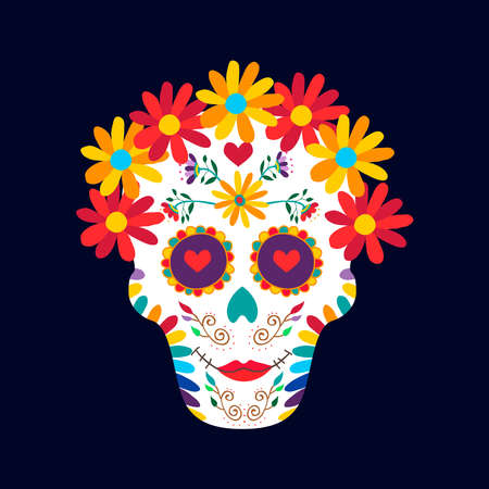 Day of the dead sugar skull woman illustration for mexican celebration, traditional mexico skeleton decoration with flowers and colorful art. EPS10 vector.