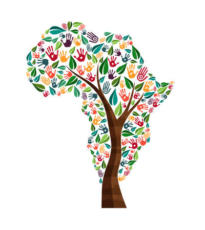 Tree with african continent shape and human hand prints. Africa world help concept illustration for charity work, nature care or social project. EPS10 vector. Vettoriali