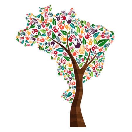 Árbol con la forma brasileña del país y las impresiones humanas de la mano. Ilustración del concepto de la ayuda del mundo de Brasil para el trabajo de la caridad, el cuidado del medio ambiente o el proyecto social. EPS10 vector.