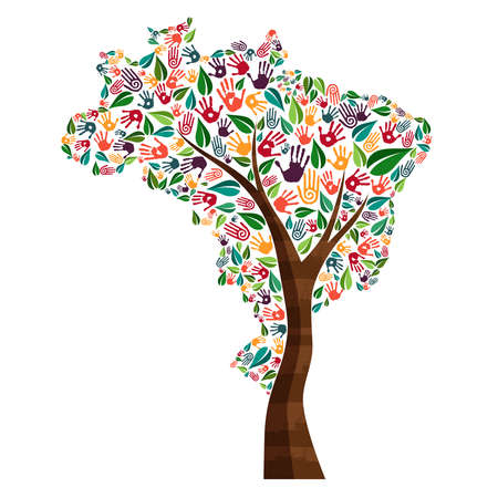 Tree with brazilian country shape and human hand prints. Brazil world help concept illustration for charity work, environment care or social project. EPS10 vector.