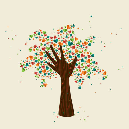 Hand tree love symbol with colorful hearts. Concept illustration for organization help, environment project or social work. EPS10 vector.