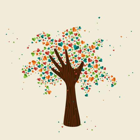 Symbole d'amour d'arbre de main avec des coeurs colorés. Illustration conceptuelle pour l'aide à l'organisation, le projet environnemental ou le travail social. Vector EPS10. Banque d'images - 83382035