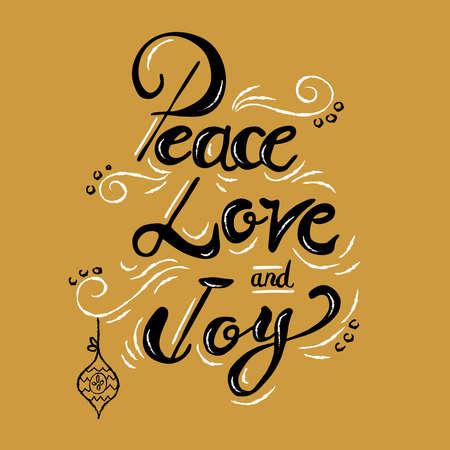 평화 사랑과 기쁨 크리스마스 서 예 따옴표, 레터링 텍스트 디자인 휴가 시즌. 크리 에이 티브 빈티지 타이 포 그래피 글꼴 그림입니다.