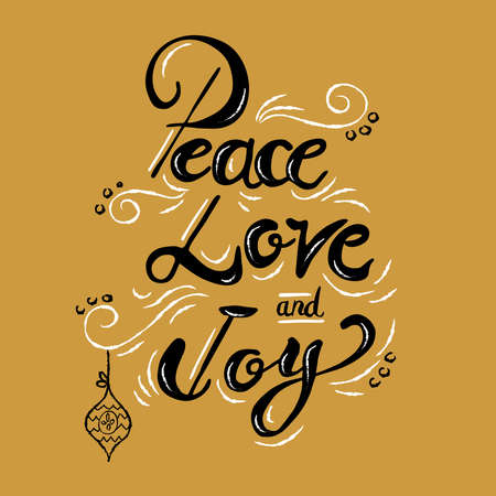 Peace love and joy Christmas calligraphy quote, lettering text design for holiday season. Creative vintage typography font illustration.