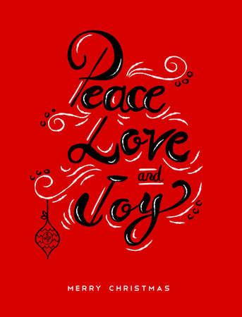 평화 사랑과 기쁨 크리스마스 서 예 따옴표, 레터링 텍스트 디자인 휴가 시즌. 크리 에이 티브 빈티지 타이 포 그래피 글꼴 그림입니다. .