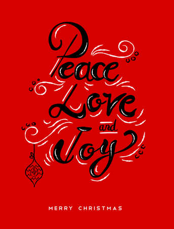 Peace love and joy Christmas calligraphy quote, lettering text design for holiday season. Creative vintage typography font illustration. .