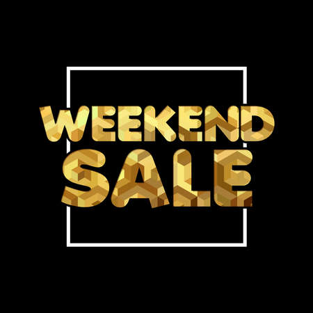 Weekend sale gold quote for special offer discount, luxury typography in 3d paper cut style.