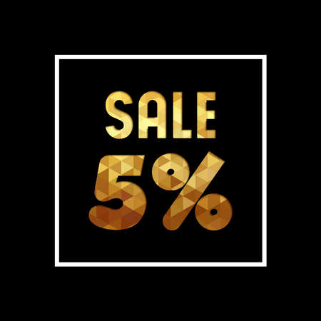 Sale 5% off gold text quote, luxury typography in paper cut style. Special offer discount advertising for retail business.