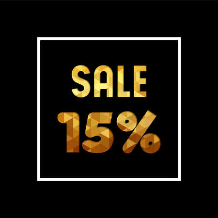Sale 15% off gold text quote, luxury typography in paper cut style. Special offer discount advertising for retail business.