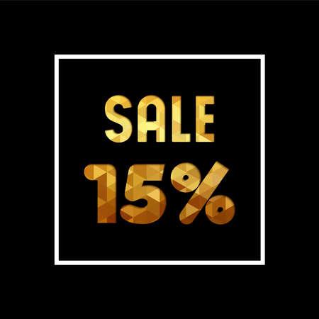Verkoop 15% korting op gouden tekst citaat, luxe typografie in papier gesneden stijl. Korting op speciale aanbiedingen voor de detailhandel.