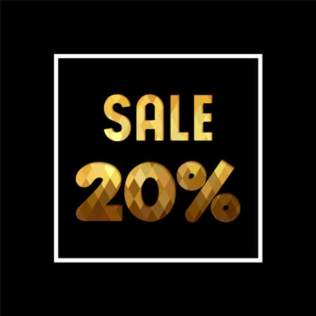 Sale 20% off gold text quote, luxury typography in paper cut style. Special offer discount advertising for retail business. Illustration