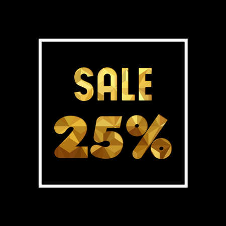 Sale 25% off gold text quote, luxury typography in paper cut style. Special offer discount advertising for retail business. EPS10 vector.