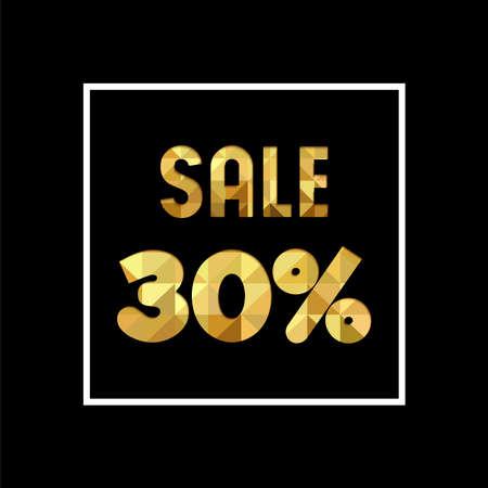 販売 30 %off ゴールド テキストを引用、紙のカット スタイルの豪華なタイポグラフィ。特別オファー割引小売ビジネスの広告します。EPS10 ベクトル。  イラスト・ベクター素材