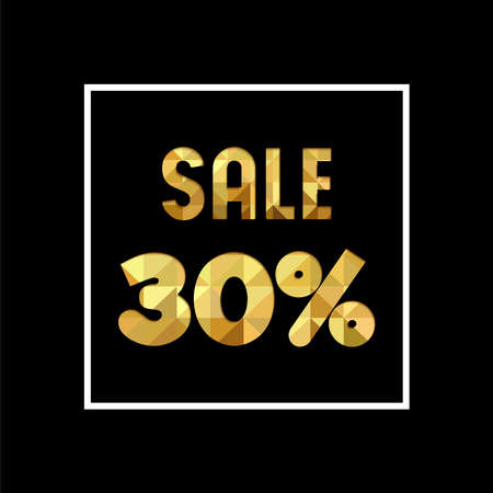 Sale 30% off gold text quote, luxury typography in paper cut style. Special offer discount advertising for retail business. EPS10 vector.