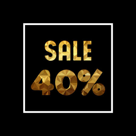 Sale 40% off gold text quote, luxury typography in paper cut style. Special offer discount advertising for retail business. EPS10 vector.