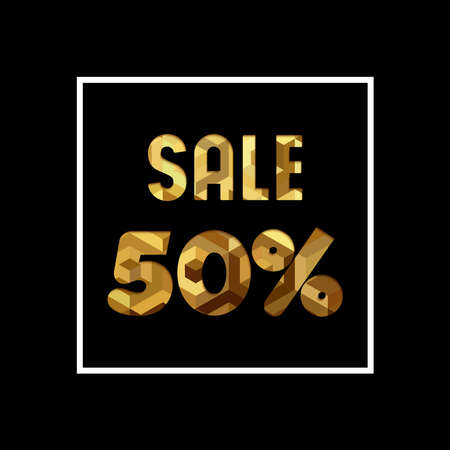 50 off: Sale 50% off gold text quote, luxury typography in paper cut style. Special offer discount advertising for retail business. EPS10 vector.