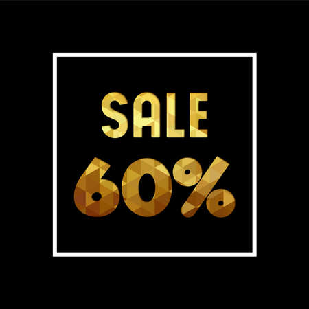 Sale 60% off gold text quote, luxury typography in paper cut style. Special offer discount advertising for retail business. EPS10 vector.