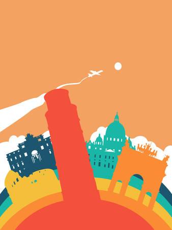 Travel Italy landscape illustration, Italian world landmarks. Includes Pisa tower, Roman Colosseum, Trevi fountain. EPS10 vector.