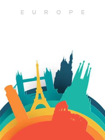 Travel Europe illustration in 3d paper cut style, European world landmarks. Includes Eiffel tower, London bridge, Rome coliseum. EPS10 vector.