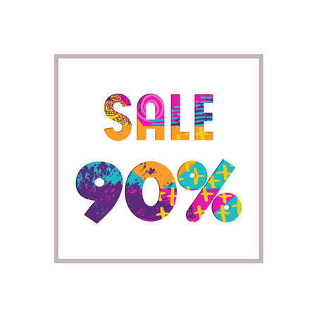 Sale 90% off modern text quote, typography design in paper cut style. Special offer discount advertising for retail business. EPS10 vector. 向量圖像