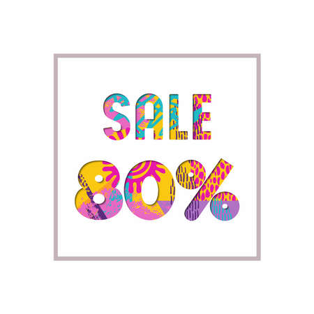 Sale 80% off modern text quote, typography design in paper cut style. Special offer discount advertising for retail business. EPS10 vector. 向量圖像
