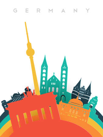 Travel Germany illustration in 3d paper cut style, German world landmarks. Includes Berlin tower, Brandenburg gate, historic monuments. EPS10 vector. Illustration