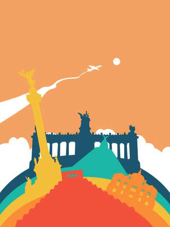 angel de la independencia: Viajes Ilustración de paisaje de México, hitos mexicanos del mundo. Incluye pirámide azteca, monumento a la independencia, palacio de bellas artes. EPS10 vector.