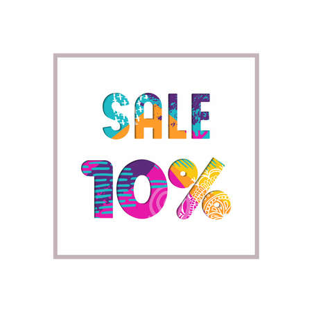 Sale 10% off modern text quote, typography design in paper cut style. Special offer discount advertising for retail business. EPS10 vector.