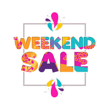 Weekend sale multicolor quote for special offer discount, modern typography in 3d paper cut style. EPS10 vector. Illustration
