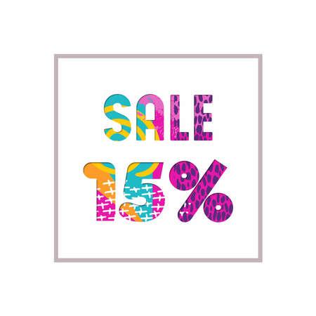 販売 15 %off モダンな本文を引用、タイポグラフィ デザイン紙のカット スタイルに。特別オファー割引小売ビジネスの広告します。EPS10 ベクトル。