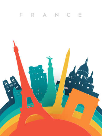 Travel France illustration in 3d paper cut style, French world landmarks. Includes Eiffel tower, Notre Dame church, triumph arch. EPS10 vector. Illustration