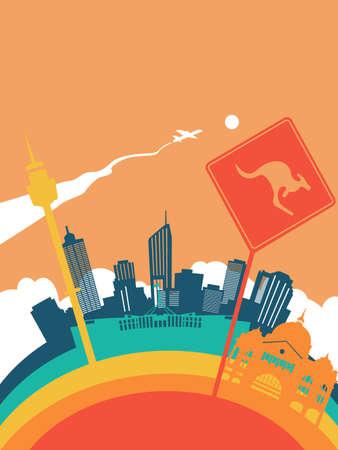 Travel Australia landscape illustration, Australian world landmarks. Includes Sydney tower, kangaroo sign, Melbourne railway station. EPS10 vector.