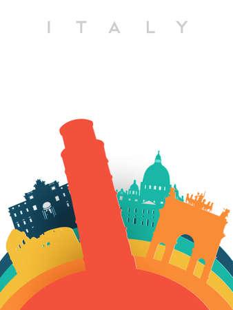 イタリア イラスト 3 d ペーパーのカット スタイル、イタリア世界のランドマークを旅行します。ピサの塔、ローマのコロッセオ、トレビの泉が含ま