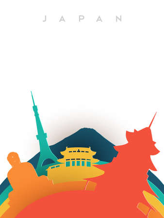 Travel Japan illustration in 3d paper cut style, Japanese world landmarks. Includes Buddha statue, Mount Fuji, tokyo tower. EPS10 vector.