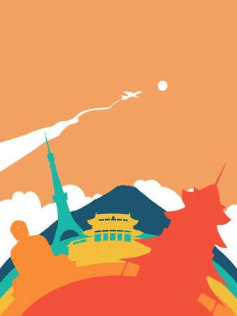 Travel Japan landscape illustration, Japanese world landmarks. Includes Buddha statue, Mount Fuji, tokyo tower. EPS10 vector. Illustration
