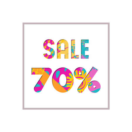 Sale 70% off modern text quote, typography design in paper cut style. Special offer discount advertising for retail business. EPS10 vector.