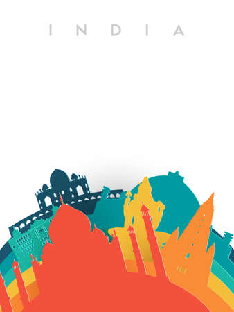 Travel India illustration in 3d paper cut style, Indian world landmarks. Includes Taj Mahal, Shiva statue, Buddhist temples. EPS10 vector. Çizim