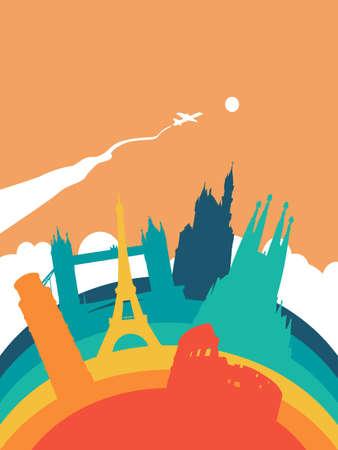 Travel Europe landscape illustration, European world landmarks. Includes Eiffel tower, London bridge, Rome coliseum. EPS10 vector.