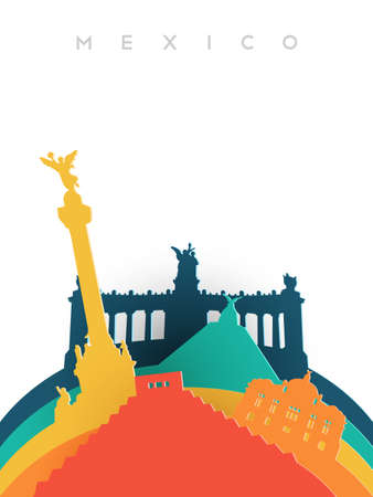 angel de la independencia: Travel Mexico illustration in 3d paper cut style, Mexican world landmarks. Includes Aztec pyramid, monument to independence, fine arts palace. EPS10 vector.
