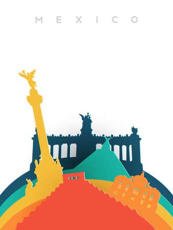 Viagem ilustração do México em estilo de corte de papel 3d, marcos do mundo mexicano. Inclui pirâmide asteca, monumento à independência, palácio de artes plásticas. Vector EPS10. Foto de archivo - 83776943