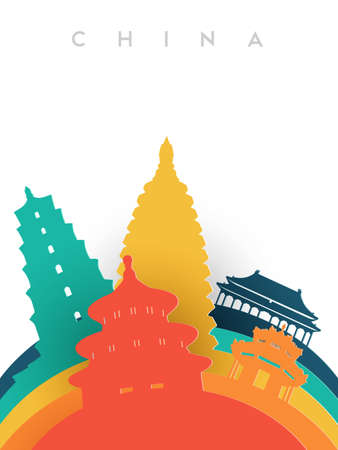 Travel China illustration in 3d paper cut style, Chinese world landmarks. Includes forbidden city, heaven temple, ancient pagodas. EPS10 vector. Illustration
