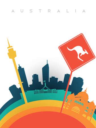 Travel Australia illustration in 3d paper cut style, Australian world landmarks. Includes Sydney tower, kangaroo sign, Melbourne railway station. EPS10 vector. Illustration